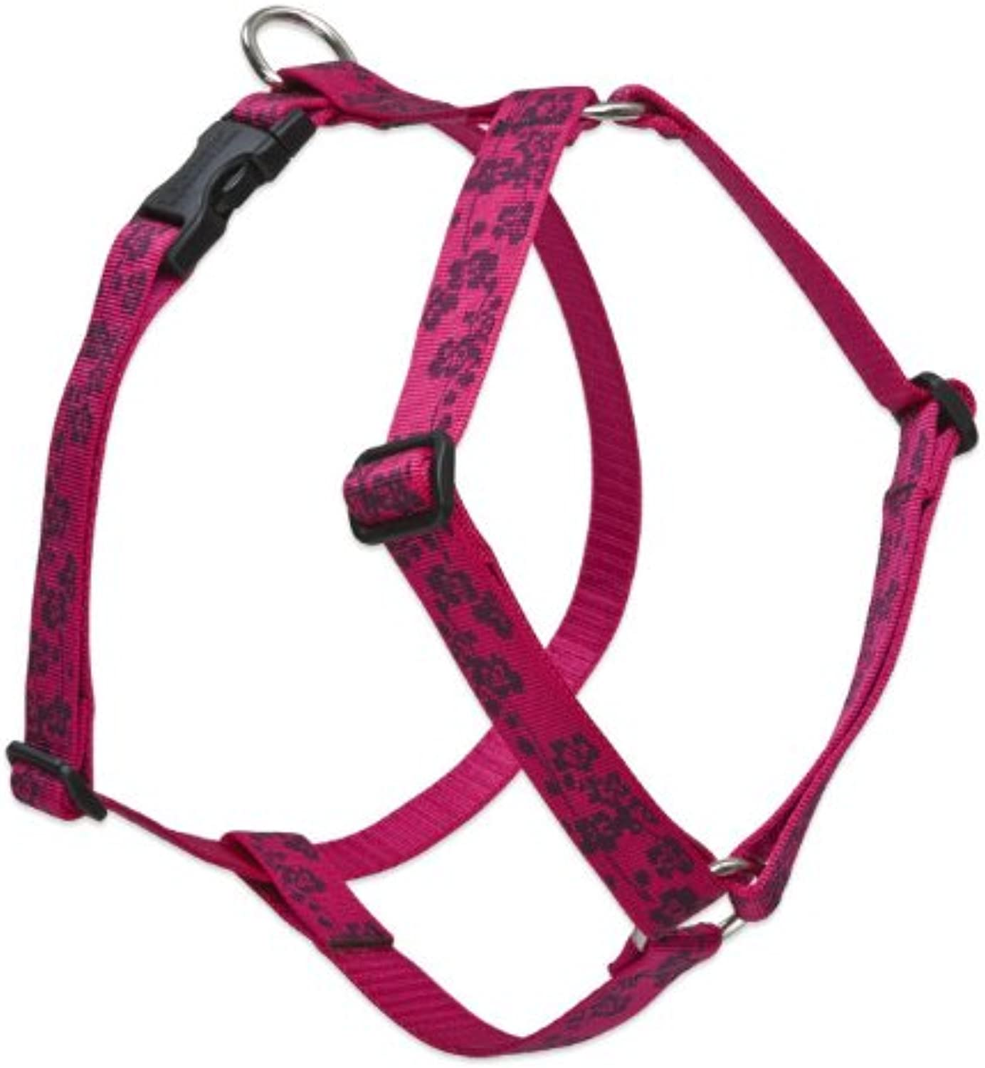 Lupine 1Inch Plum Blossom Roman Dog Harness, 24Inch to 38Inch Girth