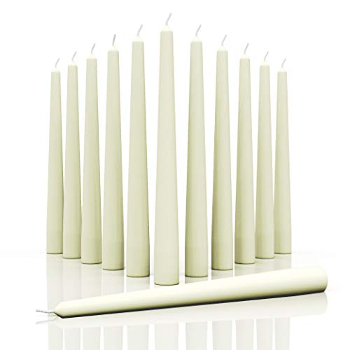 CANDWAX 12 inch Taper Candles Set of 12 - Dripless and Smokeless Candle Unscented - Slow Burning Candle Sticks are Perfect As Thanksgiving Taper Candles - Ivory Candles