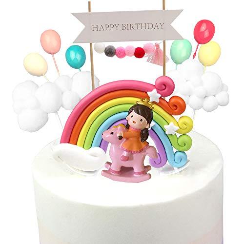Kitchen-dream 13PCS Kit de pastel de cumpleaños de príncipe y princesa Decoraciones de pastel de arcoiris con globo de nube de guirnalda Globo de colores y príncipe, ideal para cumpleaños de niños