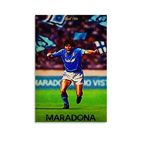 Poster sportivo con stella atletica RIP Diego Maradona Napoli La Mano di Dio Leggende Wall Art Dipinto Dipinto Dipinto Divano Parete per Soggiorno Camera da Letto Pronto da Appendere 20 x 30 cm