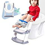 Potty Training Seat for Kids, Toddler Toilet with Adjustable Step Stool Ladder,Comfortable Safe Potty Chair with Anti-Slip Pads & Handle,Potty Training Toilet Seat for Boys & Girls Grey