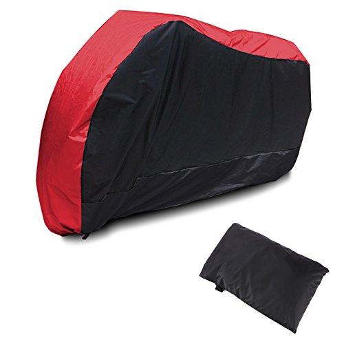 Motorrad Abdeckplane Abdeckung Motorradabdeckung Motorradplane Outdoor Indoor 190T Wasserdicht Winterfest mit Tasche L schwarz&rot