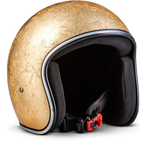"Rebel R3 ""Gold"" · Jet-Helm · Motorrad-Helm Roller-Helm Scooter-Helm Bobber Mofa-Helm Chopper Retro Cruiser Vintage Pilot Biker Helmet Brille · Fiberglas Schnellverschluss SlimShell Tasche XL (61-62cm)"