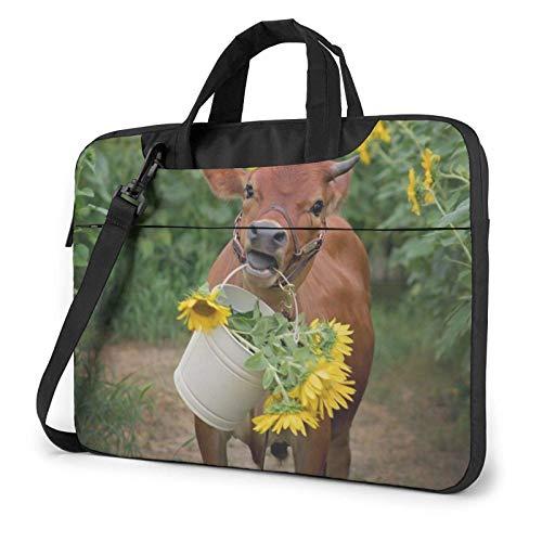 Laptop Shoulder Bag,Cow in Sunflowers Shockproof Laptop Sleeve Cover Business Messenger Bag Briefcase Handbag Case 15.6 inch