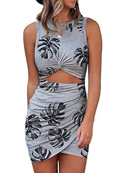 FIYOTE Women s Hollow Out Twist Bodycon Dress Leaf Grey Slim Stretch Club Party Sexy Mini Dress for Ladies X-Large