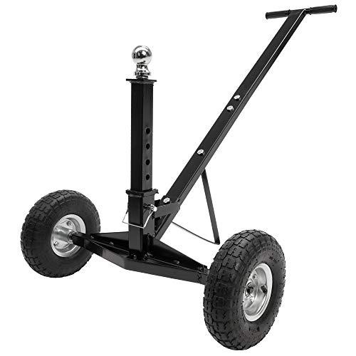 ECD Germany Rangierhilfe für Anhänger & Wohnwagen bis 272 kg, aus Stahl, mit gummierter Handgriff, 2 Räder, höhenverstellbare Kupplungskugel, stabil, Rangierwagen Campingwagen Fahrgestell Trailer