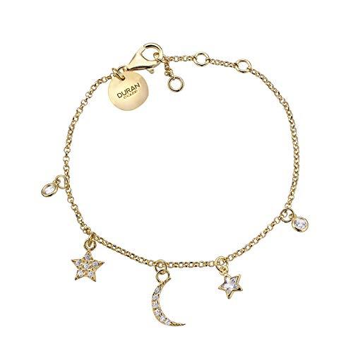 Duran Exquse Pendientes Luna, Sol y Estrella colección Astros, realizado en Plata de Ley, bañado en Oro Amarillo y Detalles en circonitas.