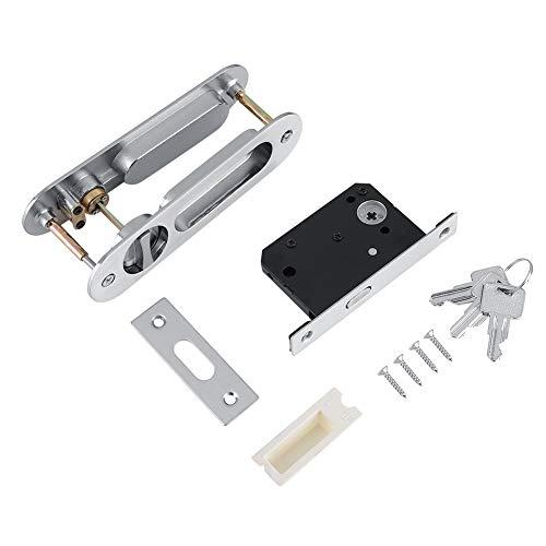 Cerradura de puerta - Manija de cerradura de puerta corredera antirrobo con llaves para herrajes para muebles de madera de granero(Plata)