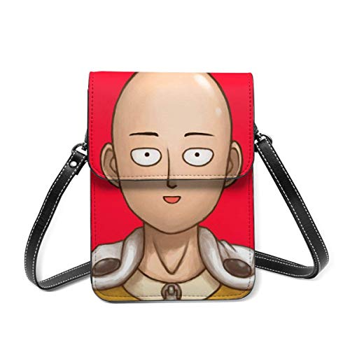XCNGG Kleine Geldbörse Anime ONE PUNCH MAN Saitama Small Crossbody Coin Purse Phone Purse Mini Cell Phone Pouch Leather Smartphone Bags Purse,With Removable Shoulder Strap,Shoulder Bag For Women Girls