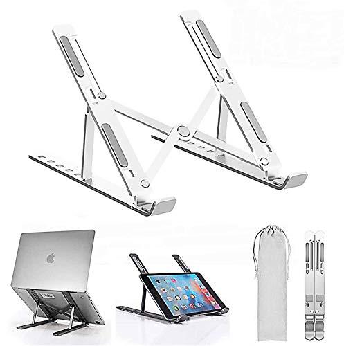 Hokieni Portátil Mesa 6 Ángulos Ajustables, Plástico ABS+Silicona+aleación de Aluminio, Soporte Ordenador Ventilado Plegable, Laptop Stand, Ligero Soporte Mesa para Macbook DELL XPS, HP, PC 10-15.6'