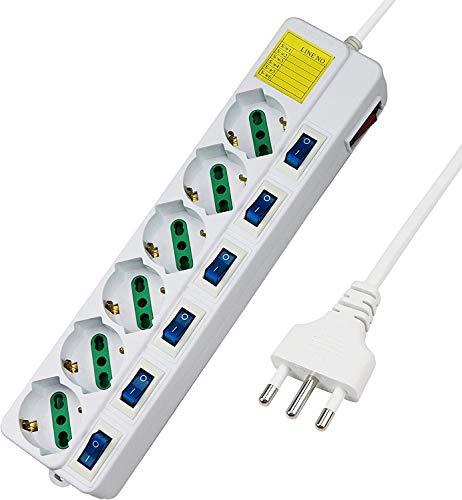LEDLUX Regleta eléctrica con 6 enchufes Schuko 10/16 A, 7 interruptores independientes,...