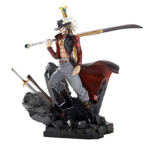 Wsjdmm One Piece Dracule Mihawk Hawkeye Black Knife Styling Standing Posture PVC Hand Model Doll Ornaments Birthday Gift Beautiful Boxed 15cm High