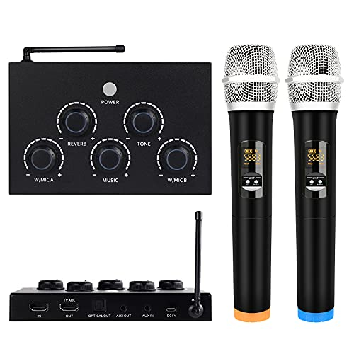 Portable Karaoke Microphone Mixer System Set, with Dual UHF Wireless...
