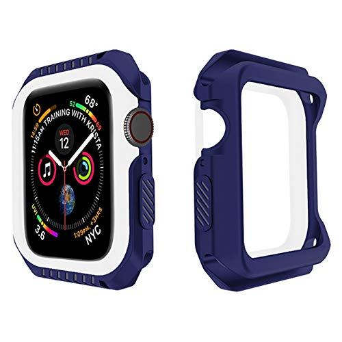 ZLRFCOK Carcasa protectora para reloj Iwatch Series 6, SE, 5, 4, 3, 2, 1, silicona y parachoques para Apple Watch de 44 mm, 40 mm, 42 mm, 38 mm, color azul, blanco, diámetro de la esfera: 40 mm