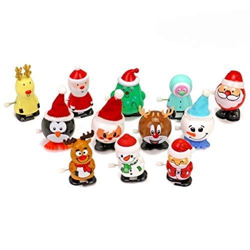 HEITIGN 12 Stück Weihnachten Aufziehspielzeug, Weihnachtsmann Schneemann Pinguin Elch Uhrwerk Spielzeug Obere Kette, Verschiedene Kleine Spielzeuge für Kinder Aufziehspielzeug Sortimente Festliche