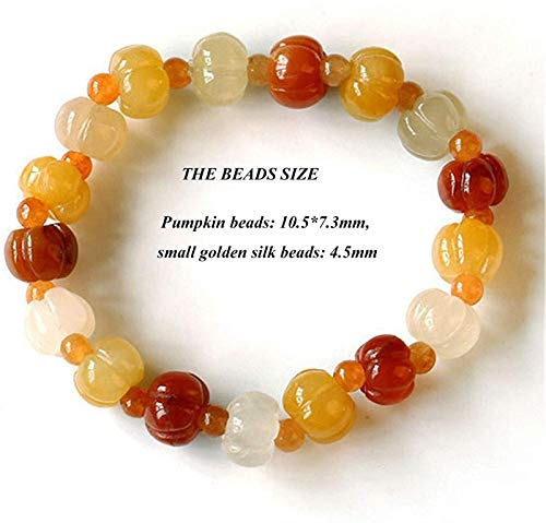 XIAOGING Feng shui riqueza pulsera natural amarillo dragón jade cuarcita estiramiento pulsera imperial jade huang long jade dorado seda jade cuarzo roca calabaza perlas regalo afortunado pulseras para