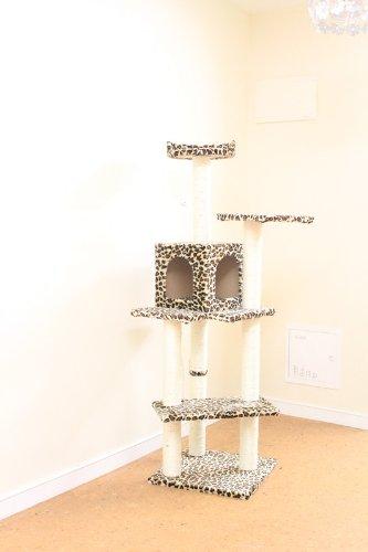 """BestPet Leopard Skin 60"""" Cat Tree Condo Scratcher House Post Furniture 5666"""