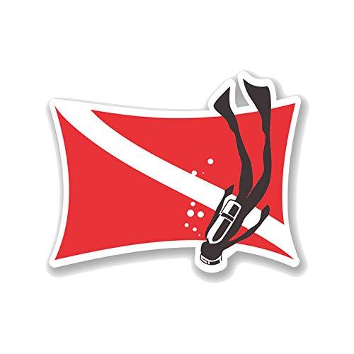 Etiqueta engomada del coche de color 13.9cm X 10.7cm Bandera de buceo Decal PVCステッカー Pegatina de coche de motocicleta 11-00738 Logo sticker