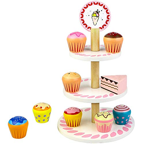 Süßigkeitskuchen aus Holz Zubehör Cupcake Muffin Ständer Set Spielzeug Lebensmittel für Kaufmannsladen und Kinderküche für Mädchen Kinder Holzspielzeug Küche Einkaufsladen Puppenküche ab 3 4 5 Jahren
