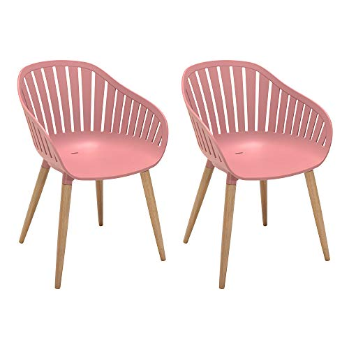 ARMEN LIVING LCNACHPEONY Nassau Outdoor Patio Arm Dining Chairs-Set of 2, 17' Seat Height, Pink Peony