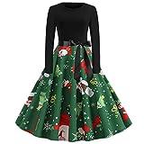 Robes de Soirée, ELECTRI Femmes Robes Vintage 1950's Audrey Hepburn pin-up Noël Imprimé Manches Longues A - Ligne avec Ceinture, Vêtements Deguisement Noël Femme Robe de Cocktail Style Halter