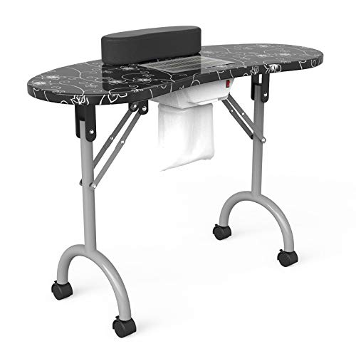 Manicure Nail Table SUNCOO Portable Folding Station Desk Spa Beauty Salon With Rolling Wheels Fan Carry bag 35.4'15.8'29.5'