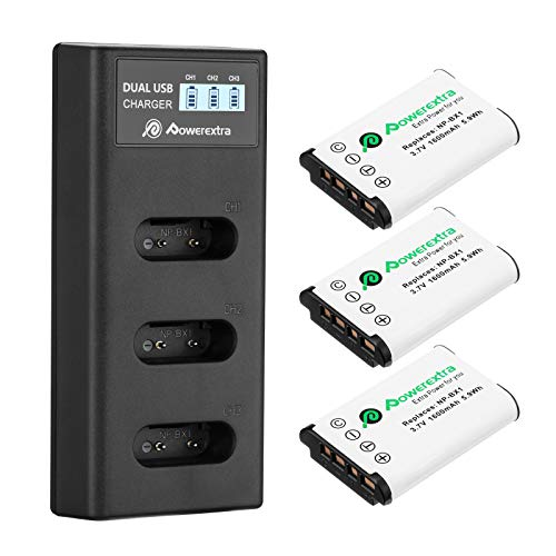 Powerextra LCD 3-Fach Ladegerät mit 3 Stück Ersatzakku für Sony NP-BX1 passend zu Sony CyberShot DSC HX90 HX95 HX99 RX100 WX350 HX400V HDR AS100V FDR X1000 X3000 usw
