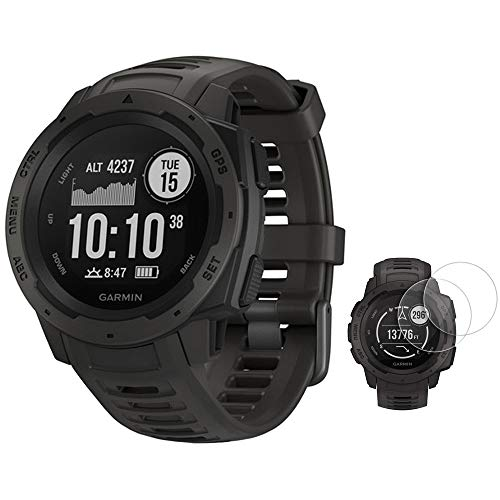 Garmin Instinct Rugged Outdoor Watch with GPS and Heart Rate Monitoring Graphite (010-02064-00) with Deco Essentials 2-Pack Screen Protector Instinct