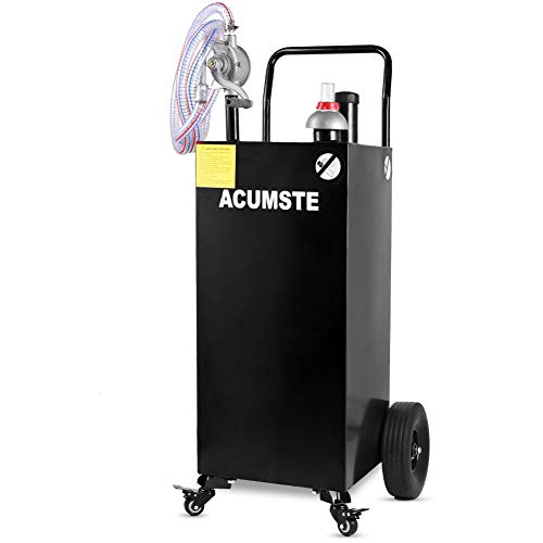 ACUMSTE 35 Gallon Fuel Tank, Portable Gasoline Diesel Gas Caddy, Hand Siphon 2 Pump Flat-Free Solid Rubber Wheels, for ATVs, Cars, Mowers, Tractors, Boat, Motorcycle(Black, 4 Wheels)