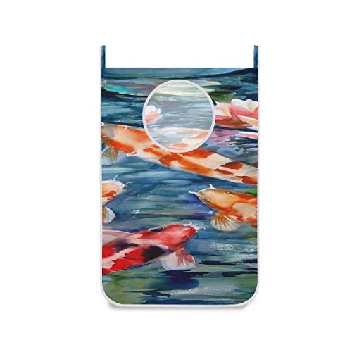 ZHANGhome Tür Wäschekorb Japanische Koi Fisch Mit Loctus Blumen Wäschekorb Korb Mit Frei Einstellbare Edelstahltür 2 Stücke Saugnapf Platzsparend