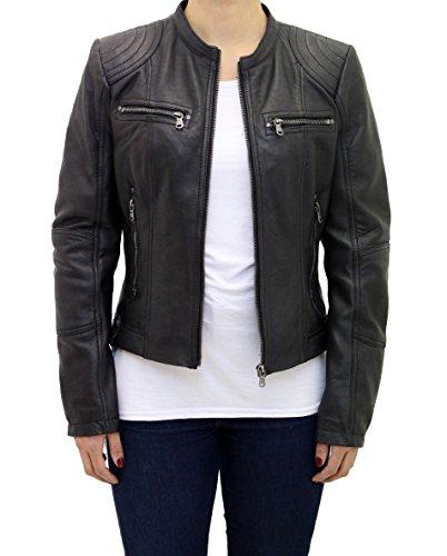 A to Z Leather Las se–Oras de Cuero Real Equipada Inteligente Corta sin Cuello con Cremallera Chaqueta de Motorista