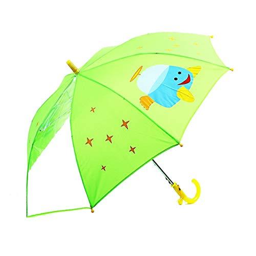 MMJU Paraguas Plegable para niños, Paraguas con cúpula de Mango Largo para niños y niñas con Panel de Ventana Transparente Paraguas con Protector Solar 86 × 68 cm,B