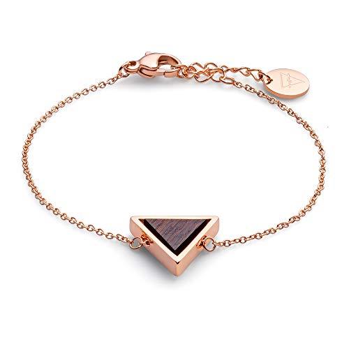 KERBHOLZ Holzschmuck – Geometrics Collection Triangle Bracelet, filigranes Frauen Armband in roségold mit Dreieck Anhänger aus Naturholz, größenverstellbar (Armbandlänge 15 + 2,5 cm)