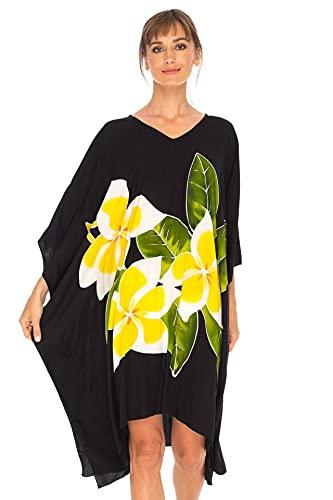 SHU-SHI Womens Short Beach Swimsuit Cover Up Poncho Dress Plus Size Kaftan Black