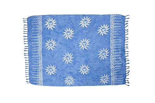 MANUMAR Damen Pareo blickdicht, Sarong Strandtuch in blau mit Sonnen Motiv, XXL Übergröße 225x115cm, Handtuch Sommer Kleid im Hippie Look, Sauna Hamam Lunghi Bikini Strandkleid