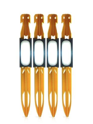 UCO Zelthering mit LED 4 Stück Hering, Gelb, 23 cm
