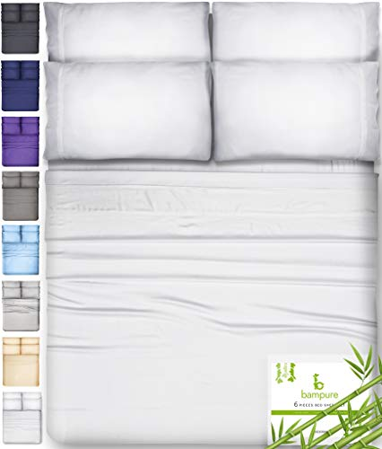 6 Piece Bamboo Sheets King Size Sheets - 100% Organic Bamboo King Sheets Cooling Sheets King Deep Pocket King Bed Sheets King Size Sheet Set King Size Bed Sheets Extra Deep Pocket King Sheets White