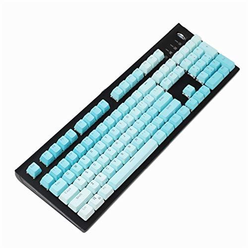 YEZIO Keycaps für Keyboards 104Keys PBT-Hintergrundbeleuchtung Keycaps Transparente Beschriftung Injektionsschlüsselkappe für verdrahtete USB-Mechanische Tastatur Universal (Color : Blue)