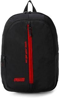 شنطة ظهر يومية للجنسين من فورس - أسود مع سحاب أمامى أحمر وشعار أحمر