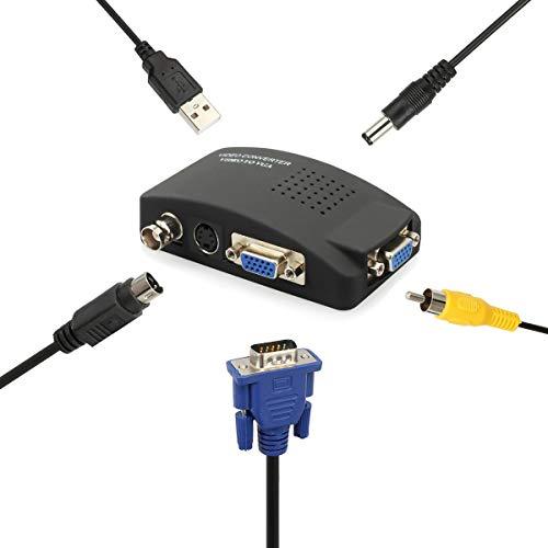 Adaptador de video VGA a VGA Conversor de video VGA / S-video / BNC a VGA Convertidor de Video para DVD CCTV HDTV Computador Portátil Notebook con Cable USB