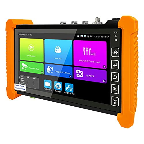 Rsrteng CCTV Camera Tester, Upgrade Version IPC-7300 OPM TDR Cable Test 4K 8MP CVI TVI AHD SDI Camera Test 7 inch Touch Screen IPC Tester 12MP IP CVBS Security Camera Tester Features PTZ POE WiFi