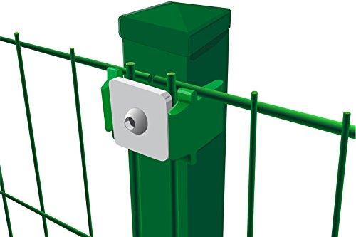 Komplettset Einstabmattenzaun, 10 m x 120 cm (B x H) in grün (Maschung 200x50 cm), inkl. Pfosten und Montagematerial - alles, was Sie zum Auftstellen des Zauns benötigen