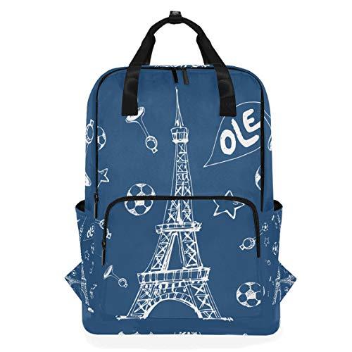ZOMOY Rucksäcke,Einzigartiges handgezeichnetes Fußball Plakat Bild Eiffel,Neue lässige Laptop leichte Tagesrucksack Leinwand College School Travel Umhängetasche Camping Klettern Wandern Taschen