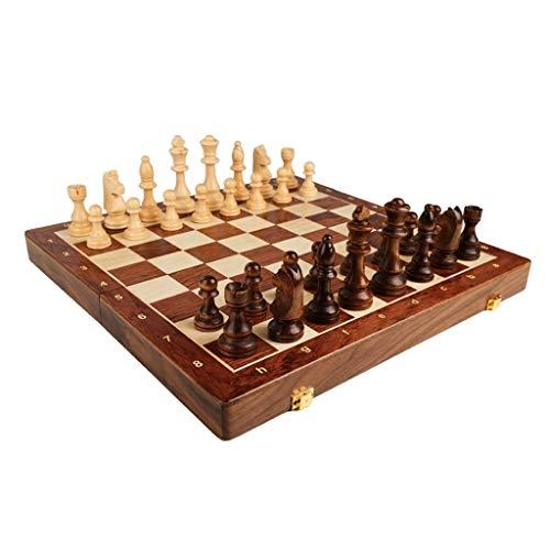 Massivholz-Schach-Set, tragbare Falten Brett, Schach-Spiel, Geschenke und Brettspiele for Erwachsene und Kinder (Größe : L)