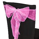 Trimming Shop Chicle Rosa Organza Cintos Cubierta para Silla Color Surtido Fuller Lazo Cinta para Boda, Banquete, Cumpleaños, Evento Decoración, 17cm x 280cm, 25pcs