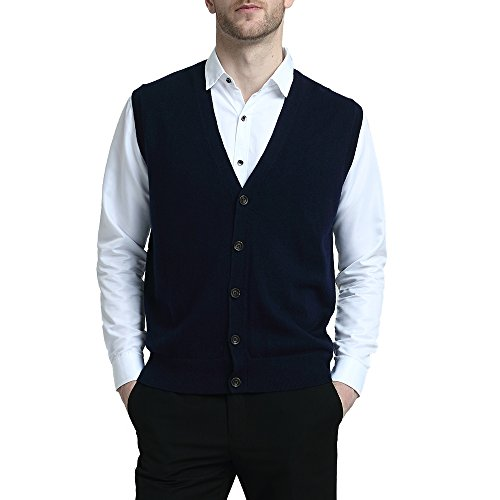 Kallspin Relaxed Fit Mens V-Neck Vest Sweater Cashmere Wool Blend Front Button (Navy Blue, L)
