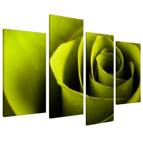 Grande Quadro su Tela Floreale Rose Verde Lime - Wall Art Quadri Stampe XL 4110