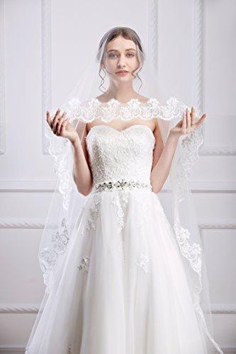 Handmadejewelrylady mariée Femme simple Cathédrale élégant patchs à dentelle Voile de mariée (300 cm/118 en)