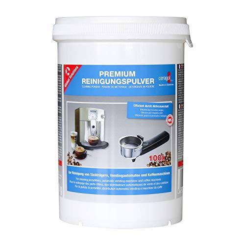 ceragol ultra Premium Reinigungs-Pulver – Reinigungs-Mittel für Kaffee-Maschinen, Sieb-Träger und Espresso-Geräte, Kaffeefett-Reiniger, 1000 g für 250 Anwendungen