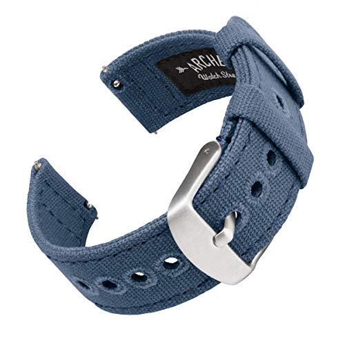Archer Watch Straps | Cinturini Ricambio da Polso a Sgancio Rapido in Tela per Orologi e Smartwatch, Uomini e Donne (Blu Indaco, 22mm)